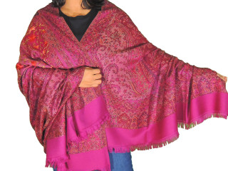 Mulberry Embroidered Long Dressy Scarf - Jamawar Paisley Wool Kashmir Shawl Afghan 80""