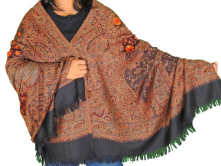 Black Brown Embroidered Warm Scarf - Jamawar Paisley Wool Shawl Afghan 80""
