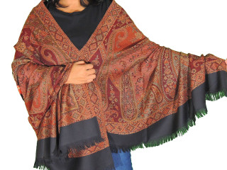 Black Maroon Embroidered Warm Scarf - Kashmir Paisley Large Wool Shawl Afghan 80""
