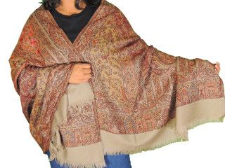 Beige Brown Embroidered Warm Scarf - Kashmir Paisley Large Wool Shawl Afghan 80""