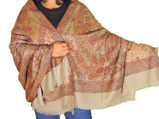 Beige Maroon Floral Embroidered Scarf - Kashmir Ladies Wool Shawl Afghan 80""