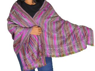 Purple Multicolor Paisley Wool Shawl - Trendy Jamawar Ladies Dress Scarf 78""