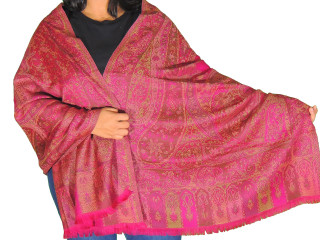 Magenta Paisley Kashmir Wool Shawl - Trendy Jamawar Ladies Dress Long Scarf 78""