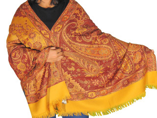 Saffron Yellow Paisley Kashmir Shawl - Trendy Jamawar Wool Ladies Dress Long Scarf 78""