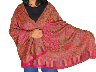 Magenta Paisley Ladies Wool Shawl Wrap - Warm Jamawar Dress Scarf 78""