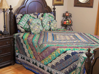 Bohemian Indian Sari Bedding Set - Beaded Duvet with Pillows Cushion Covers ~ King