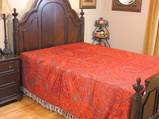 Red Maroon Cashmere Zeenat Bedding - Paisley Kani Reversible Wool Blanket ~ Queen