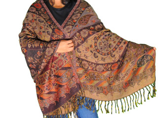 Multicolor Floral Warm Wool Shawl - Kashmir Evening Dress Scarf Afghan 80""