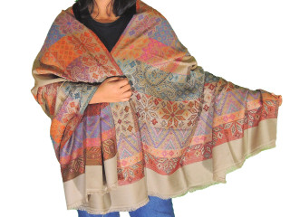 Multicolor Geometric Pattern Wool Shawl - Evening Dress Winter Scarf Afghan 80""