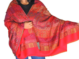 Crimson Red Paisley Wool Shawl Wrap - Evening Dress Winter Scarf Afghan 80""