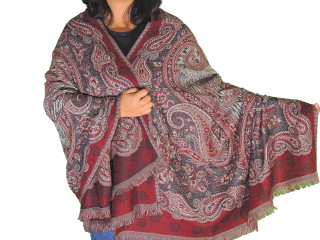 Black Maroon Paisley Wool Shawl Wrap - Evening Dress Winter Scarf Afghan 80""