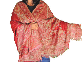 Red Beige Floral Wool Shawl Fashion Wrap - Evening Dress Scarf Afghan 80""