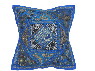 """Blue Kundan Decorative Throw Pillow - Fancy Beaded Embellished Cushion Cover 16"""""""