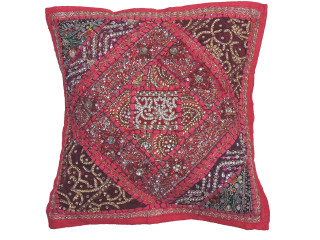 """Magenta Maroon Decorative Pillow Cover -Beaded Indian Unique Couch Cushion 16"""""""