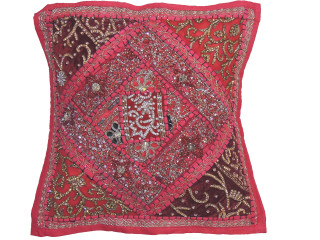 """Magenta Decorative Living Room Pillow Cover - Beaded Couch Cushion 16"""""""