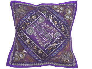Purple Sari Patchwork Pillow Cover - Decorative Beaded Indian Throw Cushion Cover 16""