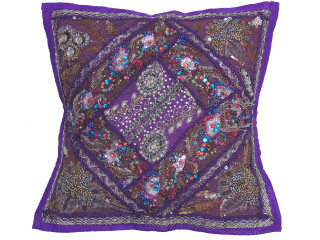 Purple Decorative Patchwork Pillow Cover -Beaded Indian Unique Couch Cushion 16""
