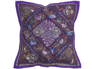 """Purple Decorative Living Room Pillow Cover - Beaded Couch Cushion 16"""""""