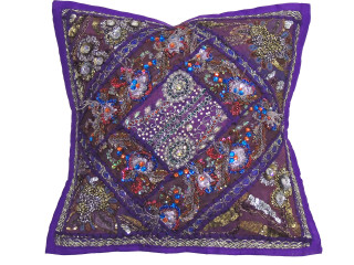 Purple Decorative Couch Throw Pillow Cover - Beaded Sari Patchwork Cushion 16""