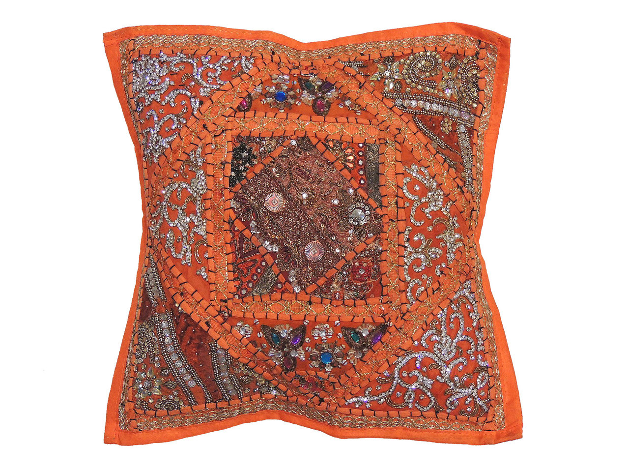 Orange decorative living room pillow cover beaded couch cushion 16 novahaat for Decorative accent pillows living room