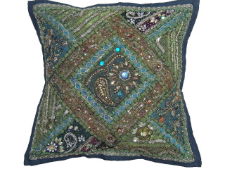 """Green Kundan Decorative Throw Pillow - Fancy Beaded Embellished Cushion Cover 16"""""""