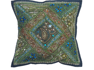 """Green Decorative Living Room Pillow Cover - Beaded Couch Cushion 16"""""""