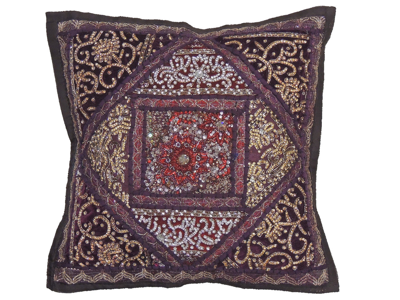 Brown decorative living room pillow cover beaded couch cushion 16 novahaat for Decorative accent pillows living room