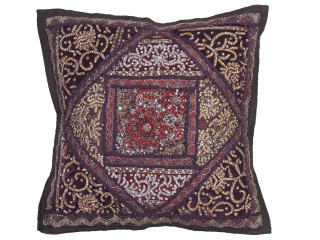 """Brown Decorative Living Room Pillow Cover - Beaded Couch Cushion 16"""""""