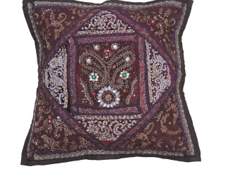 """Brown Kundan Decorative Throw Pillow - Fancy Beaded Embellished Cushion Cover 16"""""""