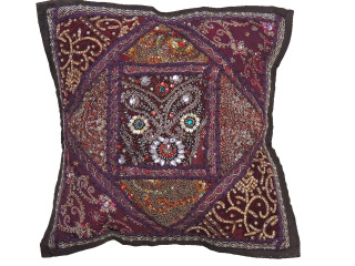 Brown Sari Patchwork Pillow Cover - Decorative Beaded Indian Throw Cushion Cover 16""