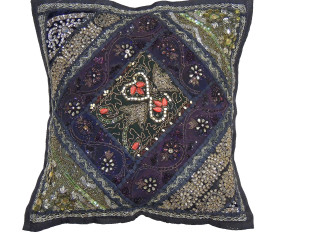"""Black Decorative Living Room Pillow Cover - Beaded Couch Cushion 16"""""""