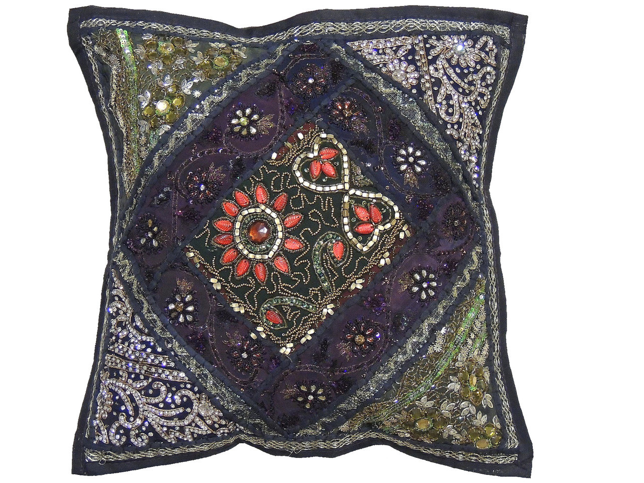 Black Beaded Throw Pillow : Black Unique Handmade Throw Pillow Cover - Beaded Sari Patchwork Cushion 16