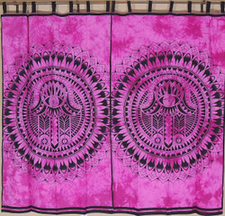 Orchid Mandala Curtain Panels from India - 2 Cotton Print Window Treatments 78""