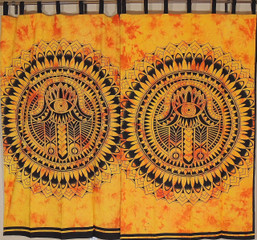 Amber Mandala Curtain Panels from India - 2 Cotton Print Window Treatments 78""
