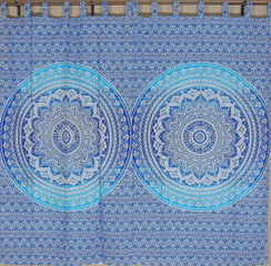 Blue Mandala Curtain Panels from India - 2 Cotton Print Window Treatments 80""
