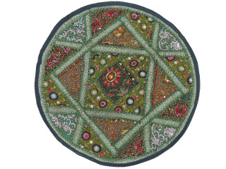 """Green Living Room Floor Pillow Cover - Round Ethnic Kundan Patchwork Cushion 26"""""""