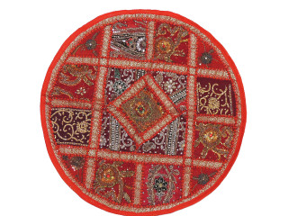 """Red Living Room Floor Pillow Cover - Round Ethnic Kundan Patchwork Cushion 26"""""""