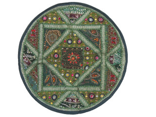 Green Round Decorative Floor Pillow Cover - Kundan Sari Patchwork Cushion 26""