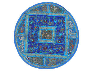"""Blue Living Room Floor Pillow Cover - Round Ethnic Kundan Patchwork Cushion 26"""""""