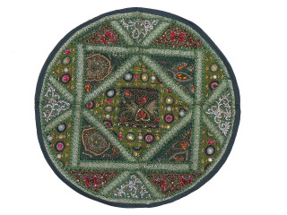 Green Round Sari Patchwork Floor Pillow Cover - Kundan Beaded Cushion 26""