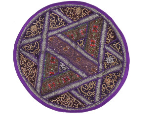 Purple Round Decorative Floor Pillow Cover - Kundan Sari Patchwork Cushion 26""