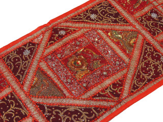 """Red Kundan Decorative Sari Tapestry - Beaded Embroidered Wall Hanging 60"""" x 20"""""""