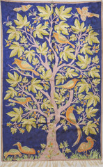 "Blue Tree of Life Rug - Crewel Chain Stitch Kashmir Embroidery Wall Tapestry 60"" x 36"""
