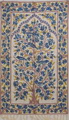 "White Tree of Life Rug - Crewel Chain Stitch Kashmir Embroidery Wall Tapestry 48""x30"""