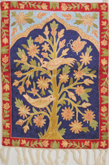 "Blue Tree of Life Tapestry - Crewel Chain Stitch Embroidery Decorative Wall Rug 24""x18"""