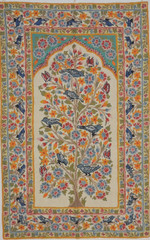 """Ivory Tree of Life Tapestry - Crewel Chain Stitch Wool Embroidered Wall Rug 60"""" x 36"""""""