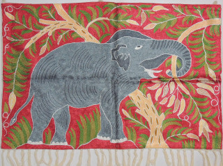 "Maroon Elephant Embroidered Wall Rug - Crewel Chain Stitch Tapestry 36"" x 24"""