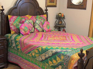Magenta Indian Inspired Luxury Bedding - Beaded Duvet with Pillows Cushion Covers ~ King