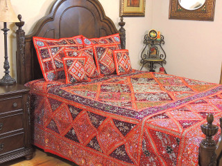 Red Decorative Kunan Sari Bedding - Artisan Handmade Duvet Pillow Shams ~ King