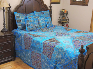 Blue Decorative Kundan Sari Bedding - Artisan Handmade Duvet Pillow Shams ~ King